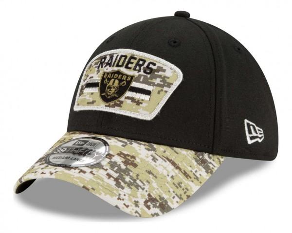New Era - NFL Las Vegas Raiders 2021 Salute To Service 39Thirty Stretch Cap - Schwarz Ansicht vorne schräg links