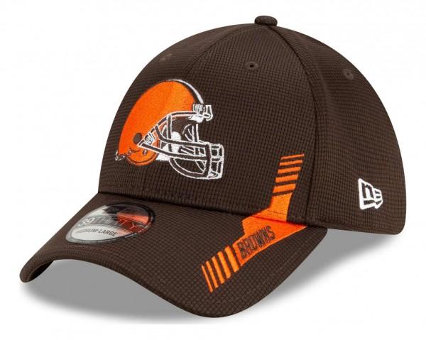 New Era - NFL Cleveland Browns 2021 Sideline Home 39Thirty Stretch Cap - Braun Ansicht vorne schräg links