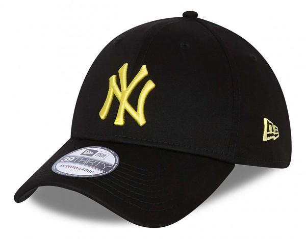 New Era - MLB New York Yankees League Essential 39Thirty Stretch Cap - Schwarz Ansicht vorne schräg links