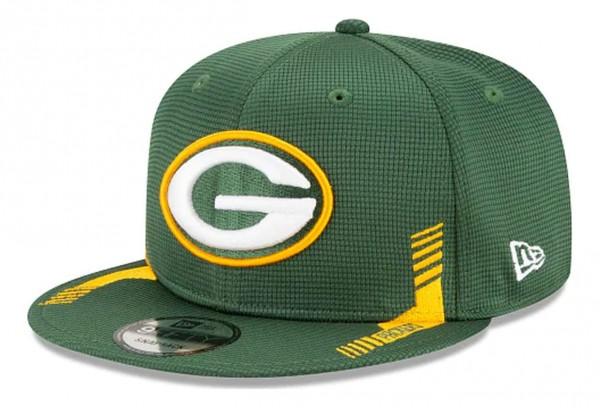 New Era - NFL Green Bay Packers 2021 Sideline Home 9Fifty Snapback Cap - Grün Ansicht vorne schräg links