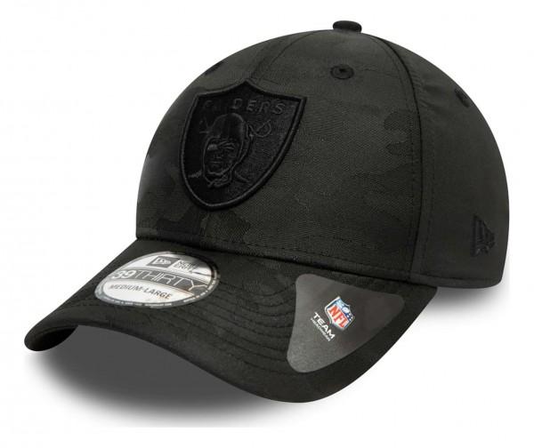 New Era - NFL Las Vegas Raiders Black Camo 39Thirty Stretch Cap - Schwarz Ansicht vorne schräg links