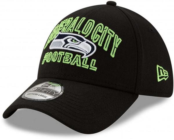 New Era - NFL Seattle Seahawks 2020 Draft Alternative 39Thirty Stretch Cap - Schwarz Ansicht vorne schräg links