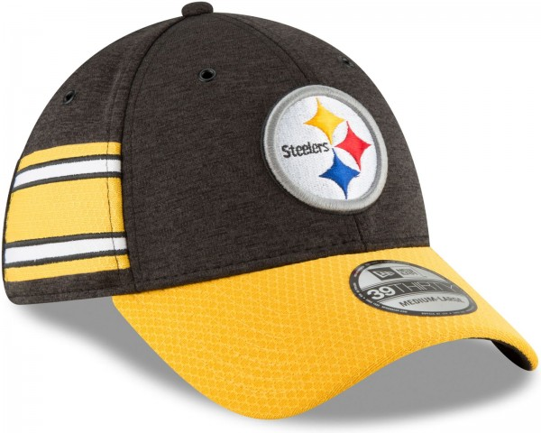 New Era - NFL Pittsburgh Steelers 2018 Sideline Home 39Thirty Stretch Cap - Schwarz schräg vorne rechts