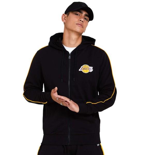 New Era - NBA Los Angeles Lakers Stripe Piping Zip Hoodie - Schwarz Vorderansicht
