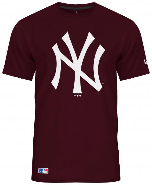 New Era - MLB New York Yankees Team Logo T-Shirt - Weinrot Vorderansicht
