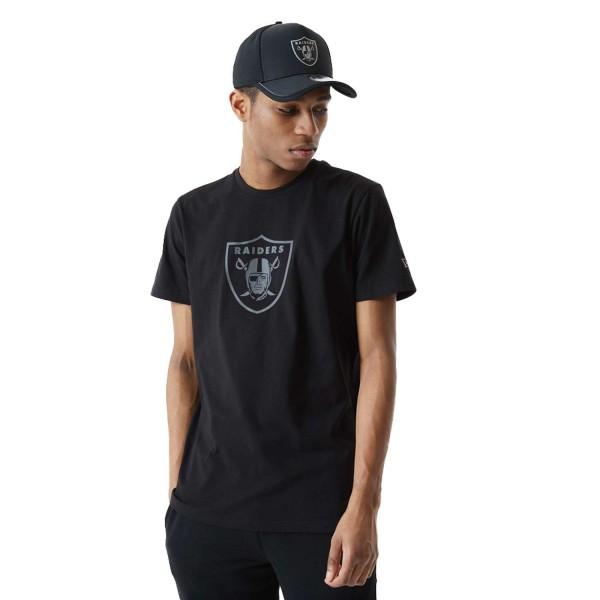 New Era - NFL Las Vegas Raiders Reflective Print T-Shirt - Schwarz Vorderansicht