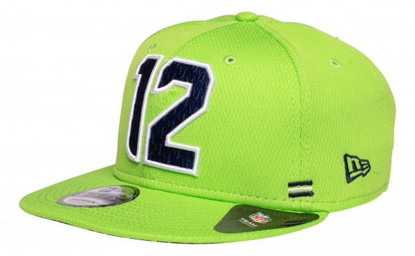 New Era - NFL Seattle Seahawks OnField 2020 Sideline Home 9Fifty Snapback Cap - Grün Ansicht vorne schräg links