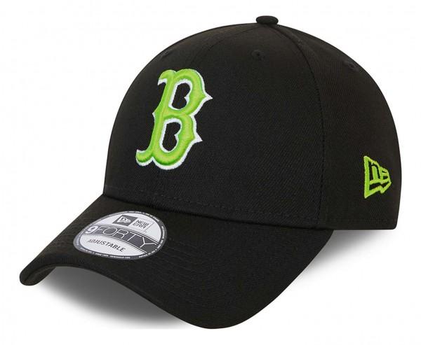 New Era - Boston Red Sox Neon Pack 9Forty Strapback Cap - Schwarz Ansicht vorne schräg links