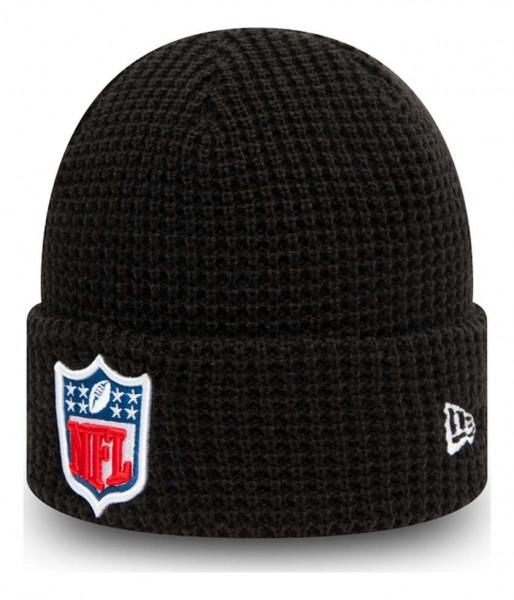 New Era - NFL Shield Team Waffle Knit Beanie - Schwarz Ansicht vorne schräg links