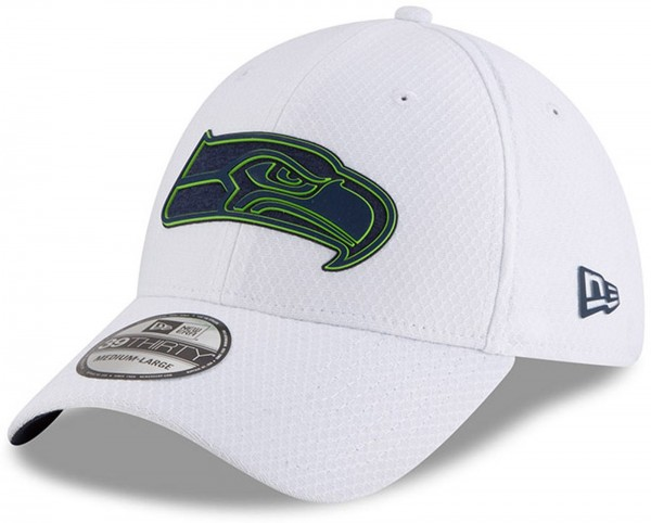 New Era - NFL Seattle Seahawks Official 2018 Training 39Thirty Cap - Weiß