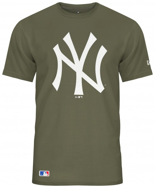 New Era - MLB New York Yankees Team Logo T-Shirt - Olivgrün Vorderansicht