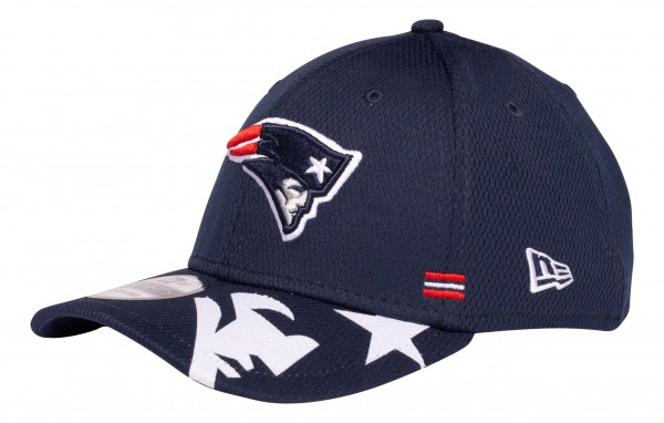 New Era - NFL New England Patriots OnField 2020 Sideline Home 39Thirty Stretch Cap - Blau Ansicht vorne schräg links