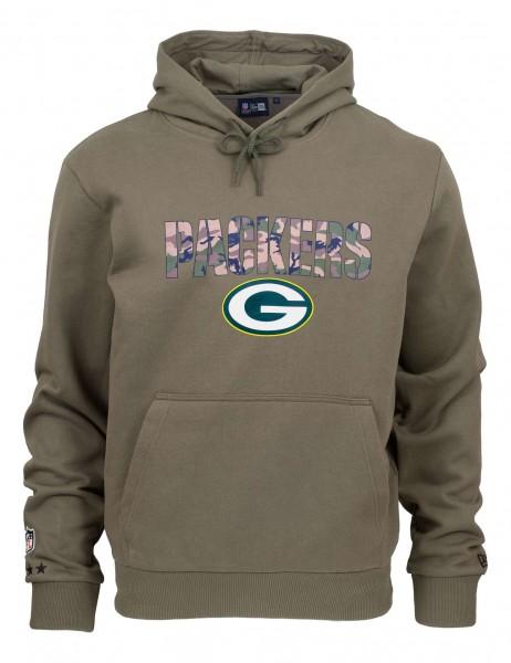 New Era - NFL Green Bay Packers Camo Wordmark PO Hoodie - Olivgrün Vorderansicht