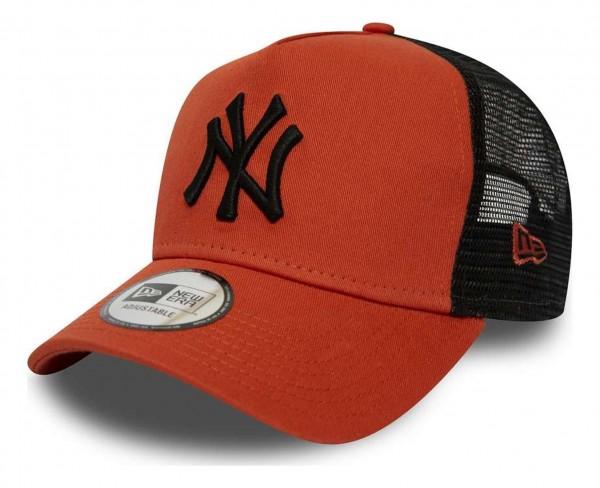New Era - MLB New York Yankees League Essential Trucker A-Frame Snapback Cap - Orange Ansicht vorne schräg rechts