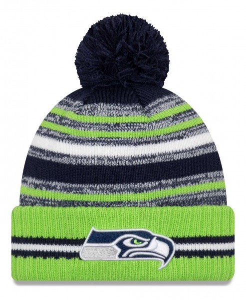 New Era - NFL Seattle Seahawks 2021 Sport Knit Bobble Beanie - Mehrfarbig Vorderansicht