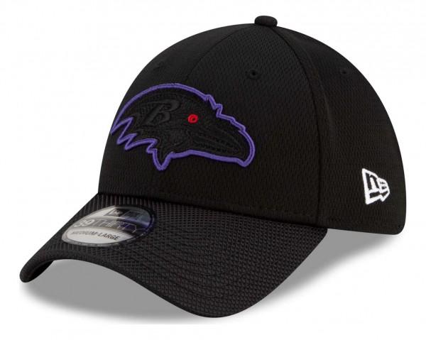 New Era - NFL Baltimore Ravens 2021 Sideline Road 39Thirty Stretch Cap - Schwarz Ansicht vorne schräg links