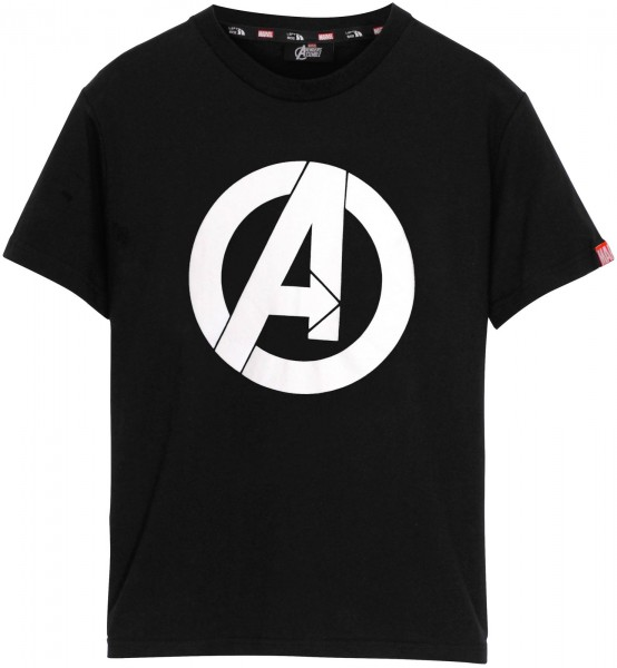 Left Side - Marvel Avengers Logo T-Shirt - Schwarz Frontansicht