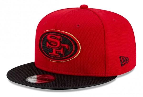 New Era - NFL San Francisco 49ers 2021 Sideline Road 9Fifty Snapback Cap - Rot Ansicht vorne schräg links