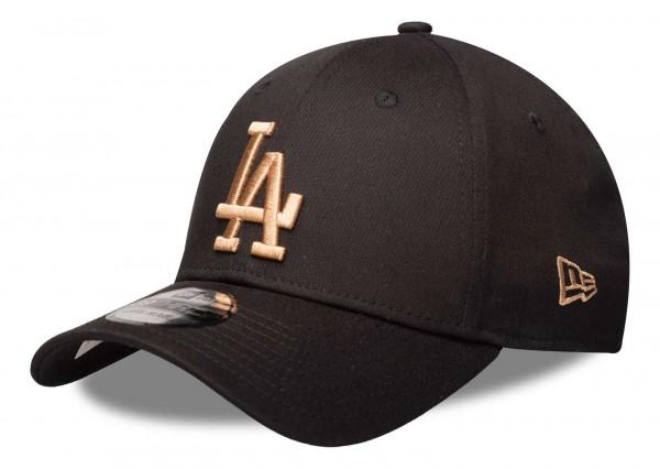 New Era - MLB Los Angeles Dodgers League Essential 39Thirty Stretch Cap - Schwarz Vorderansicht