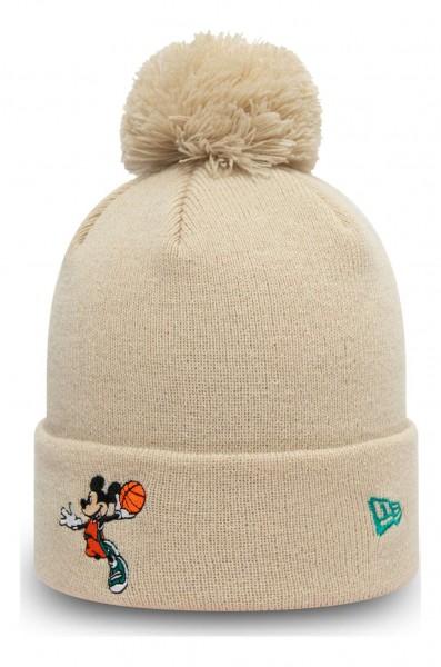New Era - Disney Mickey Mouse Character Sport Kids Bobble Beanie - Beige Ansicht vorne schräg links