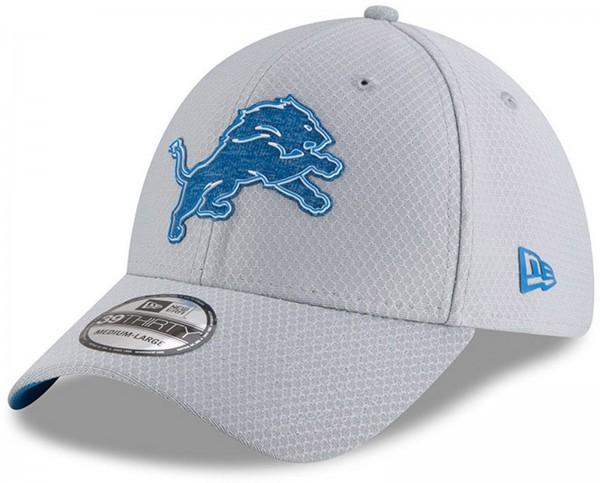 New Era - NFL Detroit Lions Official 2018 Training Secondary 39Thirty Stretch Cap - Grau