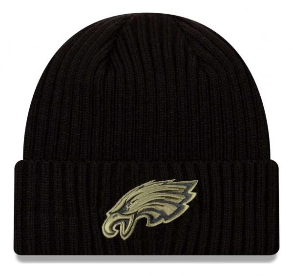 New Era - NFL Philadelphia Eagles 2020 Salute to Service Knit Beanie - Schwarz Vorderansicht