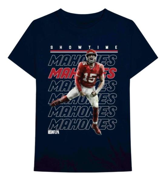 Bravado - NFL Kansas City Chiefs Mahomes Repeat T-Shirt - Blau Vorderansicht