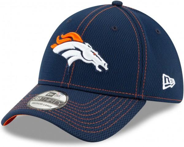 New Era - NFL Denver Broncos On Field 2019 Sideline Road 39Thirty Stretch Cap - Blau Ansicht schräg links