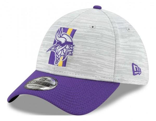 New Era - NFL Minnesota Vikings 20212 Training 39Thirty Stretch Cap - Grau-Lila Ansicht vorne schräg links