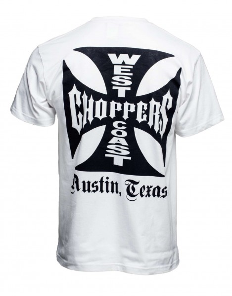 West Coast Choppers - WCC OG Cross Austin/Texas T-Shirt - Weiß Rückansicht