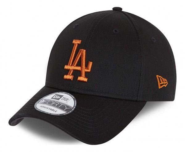 New Era - MLB Los Angeles Dodgers League Essential 9Forty Strapback Cap - Schwarz Ansicht vorne schräg links
