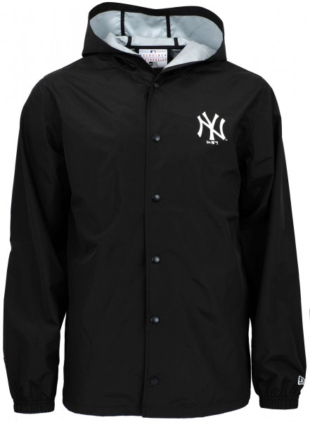 New Era - MLB New York Yankees Hooded Coaches Jacke - Schwarz Ansicht vorderseite