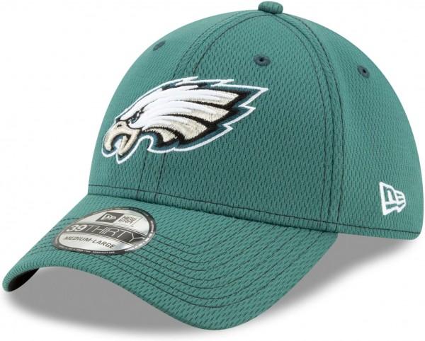 New Era - NFL Philadelphia Eagles On Field 2019 Sideline Road 39Thirty Stretch Cap - Grün Ansicht schräg links