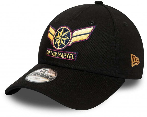 New Era - Marvel Comics Captain Marvel Character 9Forty Kids Strapback Cap - Schwarz Vorderansicht