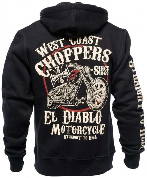 West Coast Choppers - WCC El Diablo Zip Hoodie - Schwarz Rückansicht