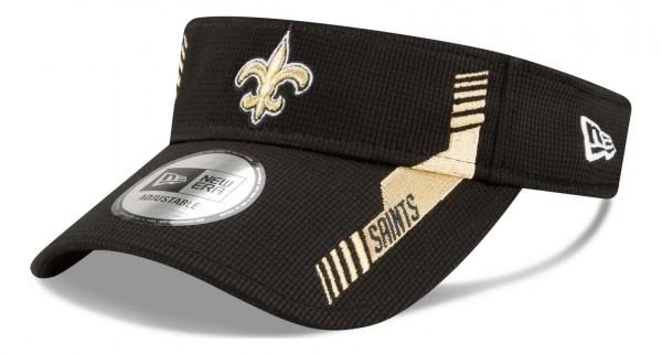 New Era - NFL New Orleans Saints 2021 Sideline Home Visor - Schwarz Ansicht vorne schräg links