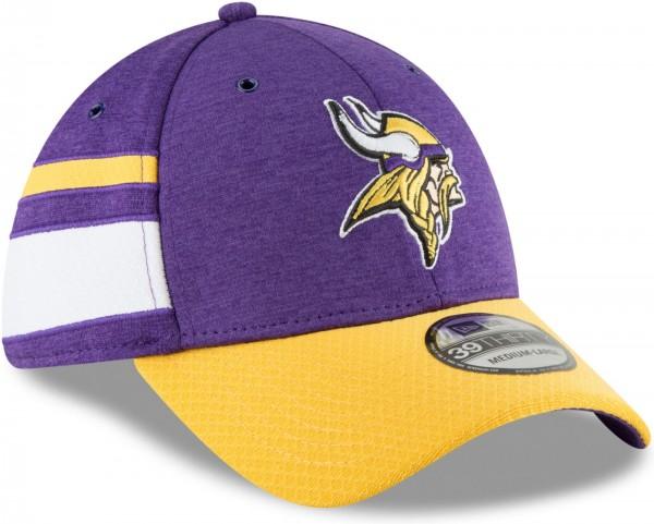 New Era - NFL Minnesota Vikings 2018 Sideline Home 39Thirty Stretch Cap - Violett schräg vorne rechts