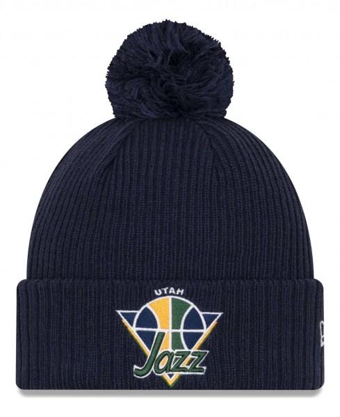 New Era - NBA Utah Jazz 2021 Tip Off Knit Bobble Beanie - Blau Vorderansicht