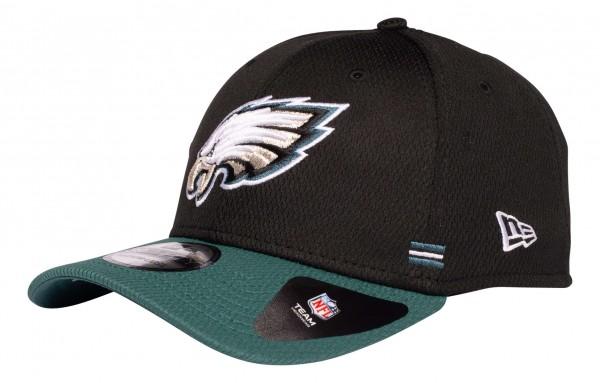 New Era - NFL Philadelphia Eagles OnField 2020 Sideline Home 39Thirty Stretch Cap - Schwarz Ansicht vorne schräg links