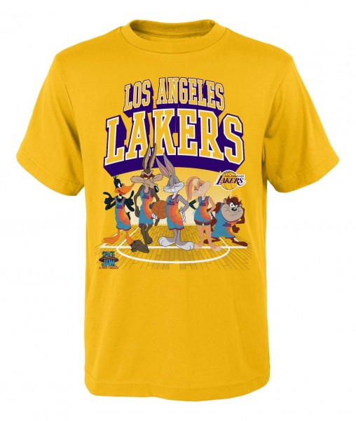 Outerstuff - NBA Los Angeles Lakers Space Jam Tunes on Court T-Shirt - Gelb Vorderansicht