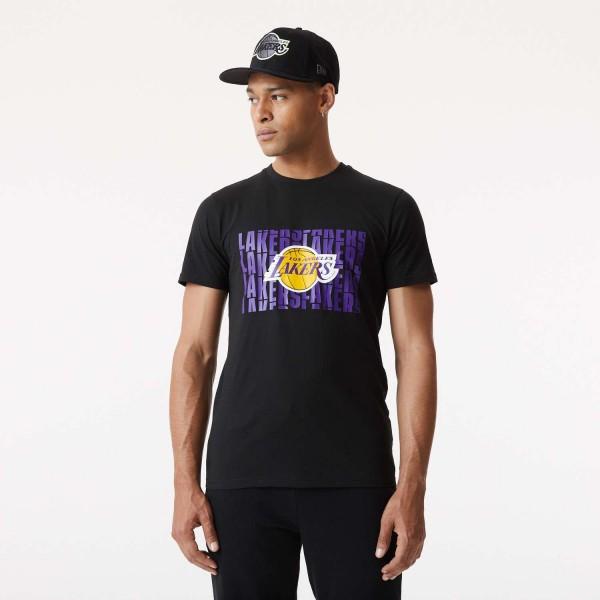 New Era - NBA Los Angeles Lakers Wordmark Repeat T-Shirt - Schwarz Vorderansicht