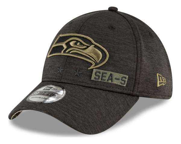 New Era - NFL Seattle Seahawks 2020 Salute to Service 39Thirty Stretch Cap - Schwarz Ansicht vorne schräg rechts