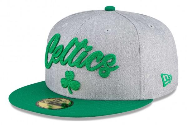 New Era - NBA Boston Celtics 2020 Draft Edition 59Fifty Fitted Cap - Grau-Grün Ansicht vorne schräg links