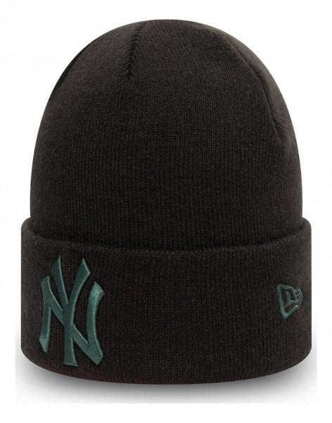 New Era - MLB New York Yankees League Essential Knit Cuff Beanie - Schwarz Ansicht vorne schräg links