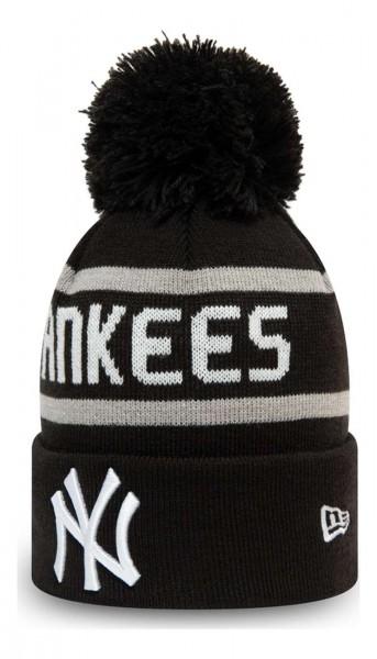 New Era - MLB New York Yankees Jake Cuff Knit Kids Bobble Beanie - Schwarz Ansicht vorne schräg links