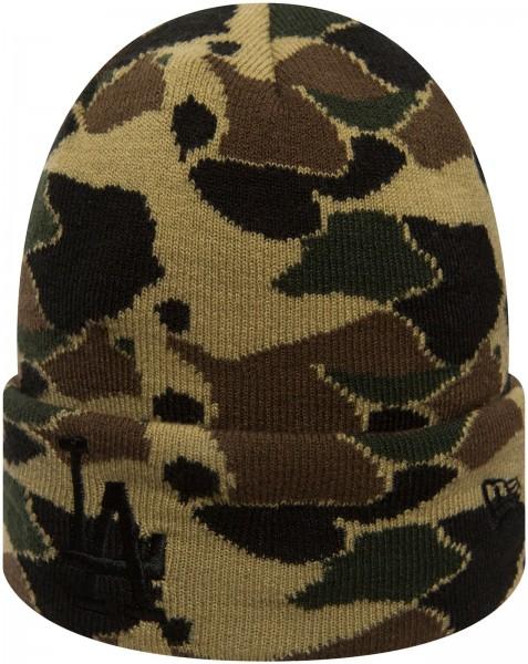 New Era - MLB Los Angeles Dodgers Camo Knit Cuff Beanie - Camouflage Ansicht schräg vorne