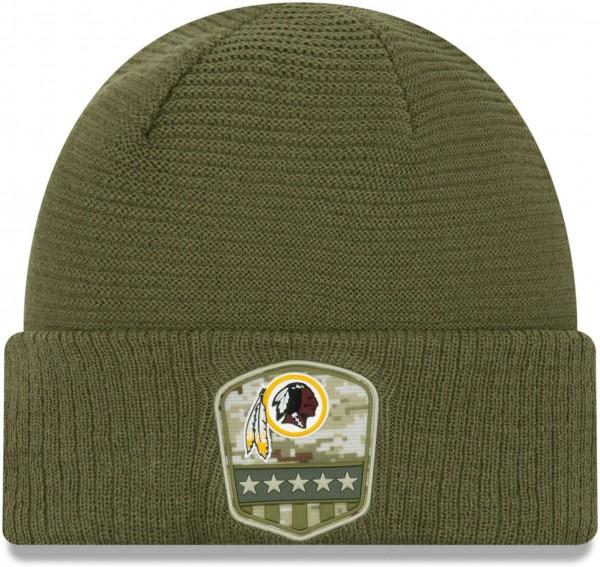 New Era - NFL Washington Redskins On Field 2019 Salute to Service Knit Cuff Beanie - Olivgrün Vorderansicht