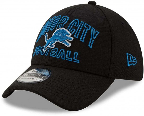 New Era - NFL Detroit Lions 2020 Draft Alternative 39Thirty Stretch Cap - Schwarz Ansicht vorne schräg links