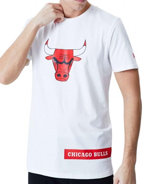 New Era - NBA Chicago Bulls Block Wordmark T-Shirt - Weiß Vorderansicht