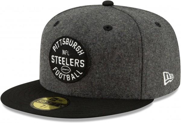 New Era - NFL Pittsburgh Steelers On Field 2019 Sideline Home 59Fifty Fitted Cap - Schwarz Ansicht schräg links